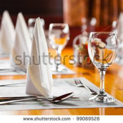 stock photo glasses and plates on table in restaurant food background 99089528